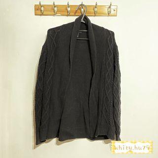 女 Gap 春裝 黑色白搭針織麻花編織罩衫外套