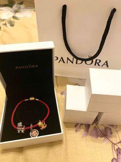 Authentic Pandora Leather Bracelet with Pandora Charms