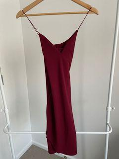 Boohoo Maroon Mini Dress - Size 8