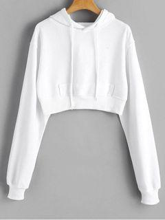Cropped white hoodie