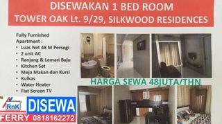 Disewakan 1 bedroom,tower oak lt9/29, Silkwood Residences