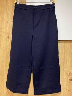 全新/HEPBURN藏藍色深藍色厚磅彈性西裝褲八分褲寬褲/L號