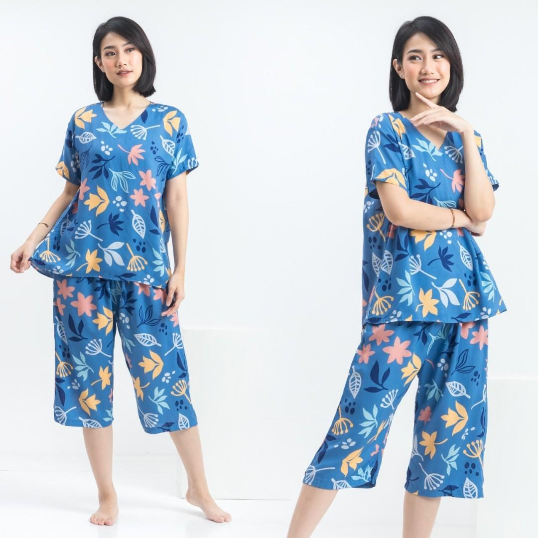 Piyama mv rayon papaya blue