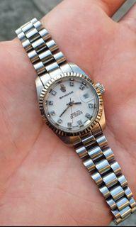 "Sandoz ""Datejust"" Vintage Swiss Automatic Silver-Tone Watch For Ladies"