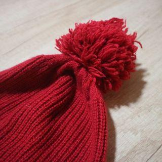 Uniqlo 大毛球 紅色 毛帽