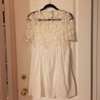 Zara White Lace Short Dress-Size S