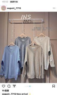 針織長版上衣(卡色1 跟灰色1
