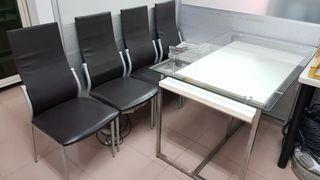 【會議玻璃桌+4椅】不遠可送