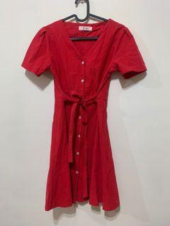 紅色綁帶洋裝#防疫