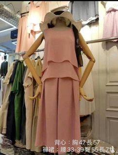 正韓粉色雪紡套裝