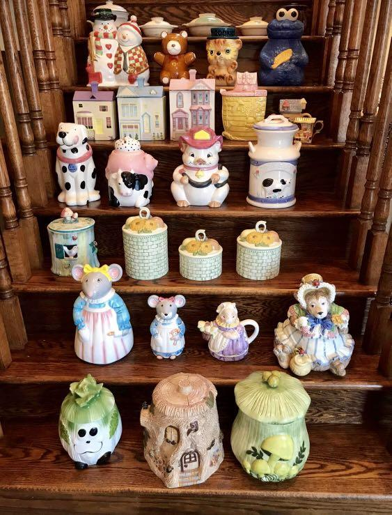 Cookie jars and tea pot