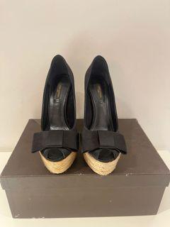 近全新Louis Vuitton 魚口蝴蝶結高跟鞋,歐碼37