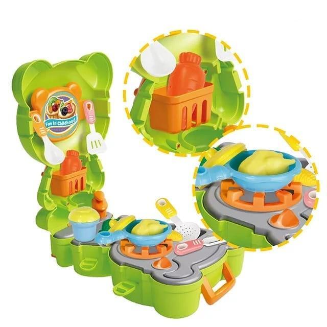 Mainan anak masak kitchen playset backpack kodok