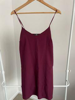 Missguided Maroon Shift Dress - Size 8