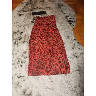 RED &BLACK LEOPARD SATIN LEGGINGS