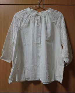 棉質日系七分袖洞洞襯衫