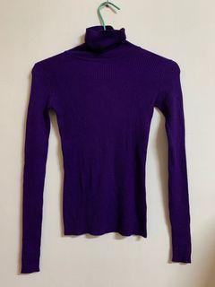 紫色套頭毛料上衣