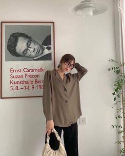 正韓 雙釦西裝薄料上衣/外套-軍綠