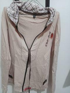 Jaket Hoodie bahan Kaos warna Krem XXL #ramadansale