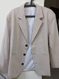Korea moos 米杏色 寬鬆西裝外套(男女皆可)