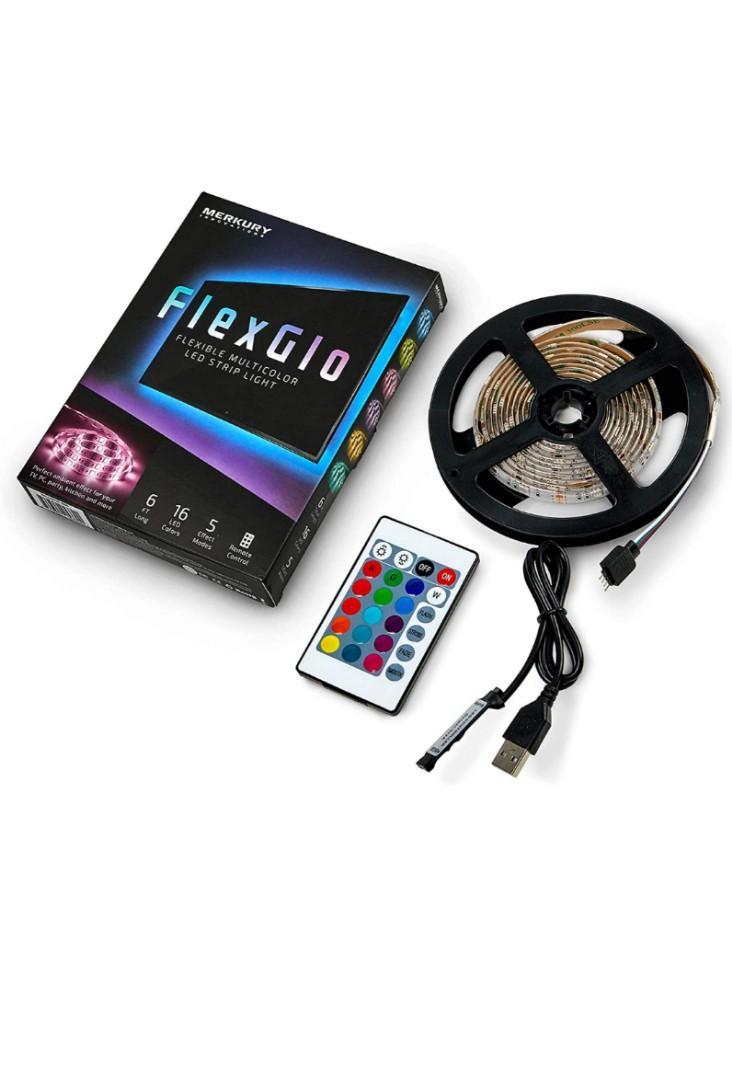 Merkury Innovations 5050 RGB LED Strip Lights with Remote Control 6 Ft w/ 60 LED Lights LED Light Strip LED Rope Lights LED Tape Light Under