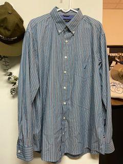 Nautica 藍白條紋襯衫/日系寬版/工裝古著/vintage #2021地球日