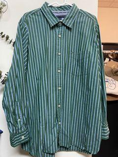 Tommy 綠色條紋長袖襯衫/九成新/工裝古著/vintage/寬版#2021地球日