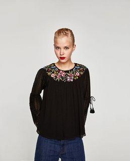 Zara Embroidery Black Dot Top