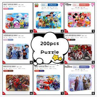 200pcs Puzzle 3D Metal Box Disney Frozen Avenger Spiderman Superwing Mickey Mouse