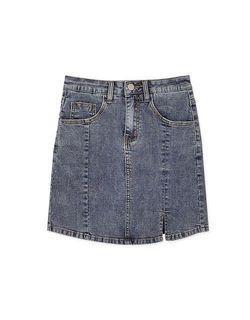 中大尺碼[Airspace]刷色牛仔開衩合身褲裙(藍)