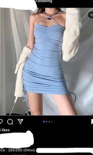 blue ruched mini sling dress