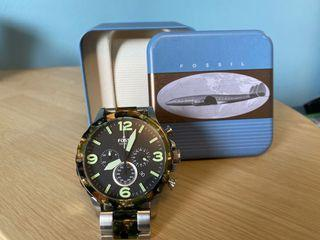 Fossil men's watch silver with tortoise shell (camo) accents