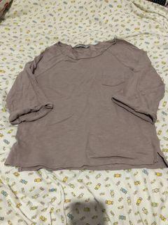 queen shop藕粉色五分袖寬版圓領上衣