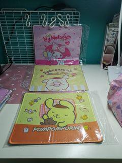 Rilakkuma, Cinnamololl, Little Twin Star and  Melody Mouse pads.