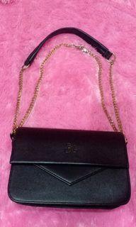 slinbag black/hitam elegan bisa 2 fungsi tali combinasi rantai