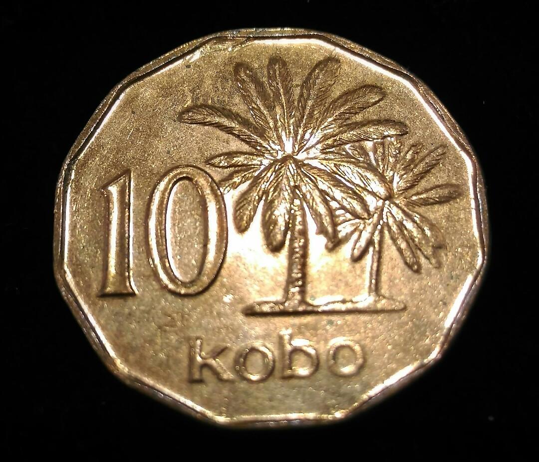 1991年奈及利亞硬幣 10 考包 Kobo,共14枚