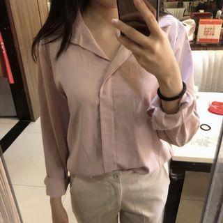 全新粉色絲滑襯衫