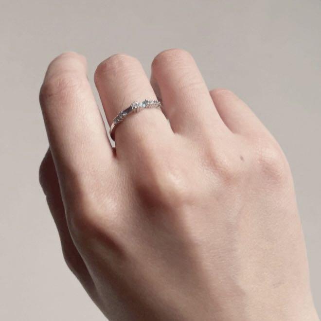 正韓 水藍小碎鑽戒指