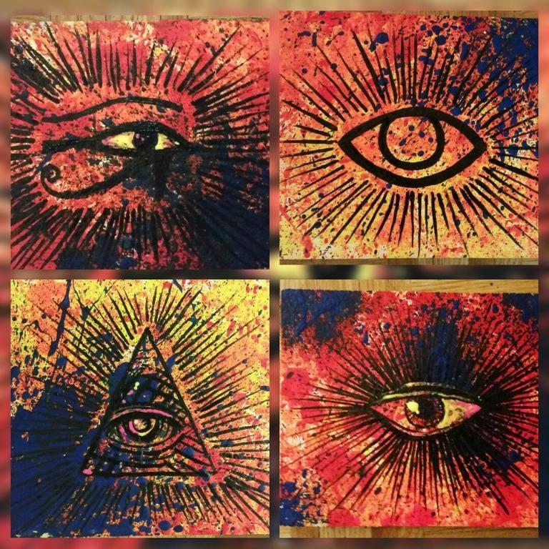 Eyes of Eternity - Blacklight UV paintings - original acrylic art