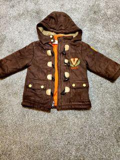 Faux Suede Toddler Varsity Jacket, Sherpa lined hood, Sz 18 months