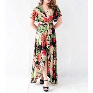 Flying sleeve Floral maxi dress