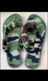 Fuzzy camouflage printed flip flops