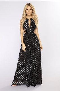 Black Polka Dot Maxi Dress
