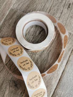 Handmade with love packaging sticker