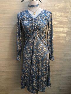 Korean Blue Floral Dress —Stretch