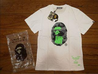 (L&XL)Undefeated Bape Tee White with fluorescent green