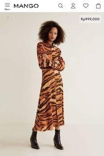 Mango Tiger Print Skirt