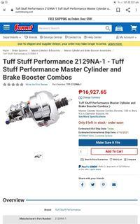 Master Cylinder and Brake Booster Combo (Tuff and Stuff