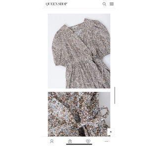 (全新)Queen shop法式交叉綁帶設計洋裝