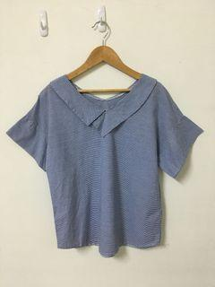 Queen Shop 條紋V領短袖襯衫